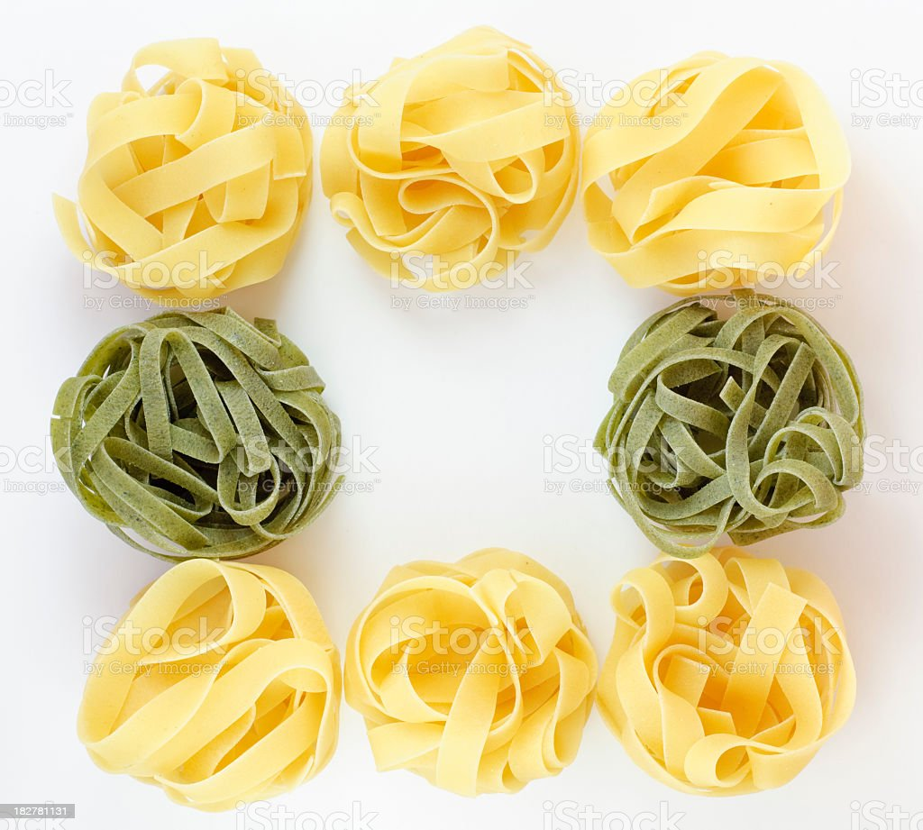 Fettuccine Tagliatelle frame on a white background stock photo