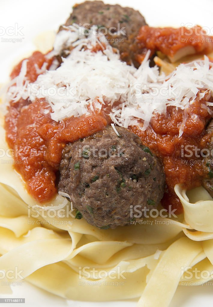 Fettuccine with meatballs royalty-free stock photo