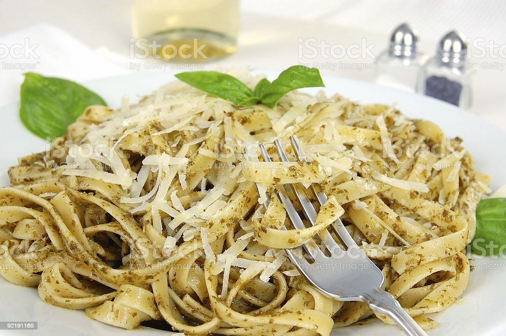 Fettuccine with Pesto royalty-free stock photo