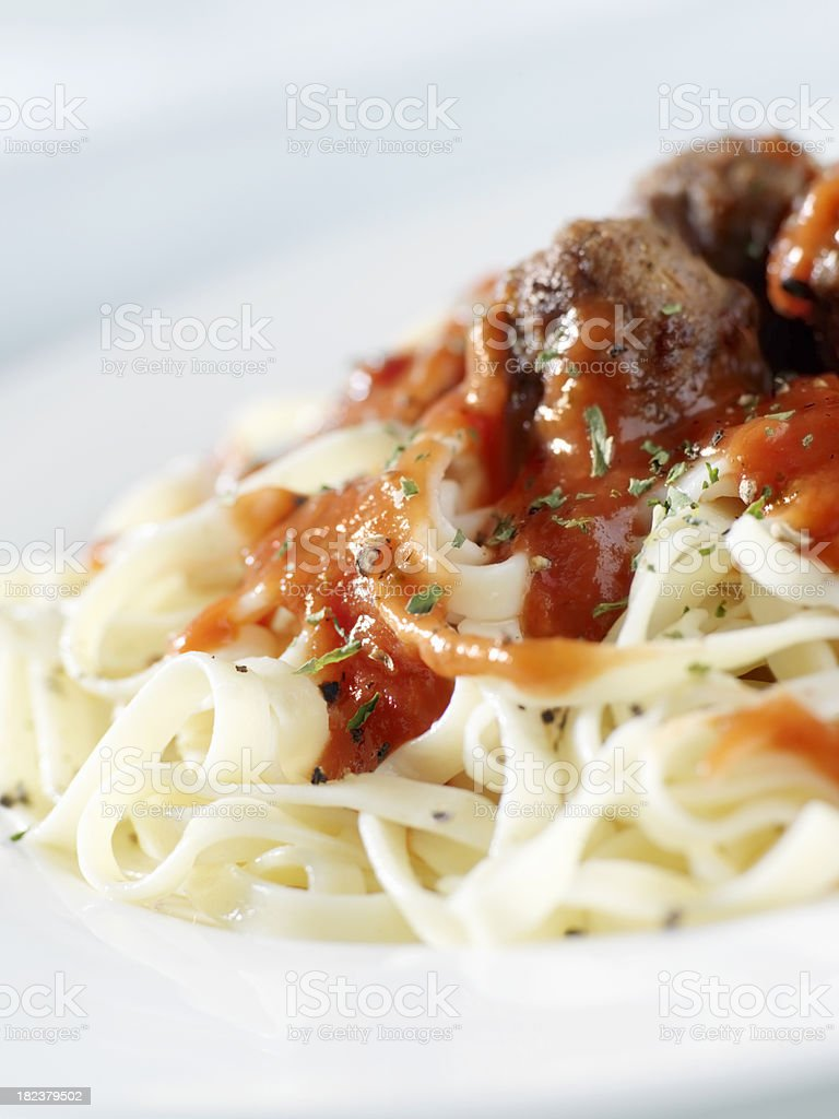 Fettuccini Pasta in Tomato Sauce with Meatballs royalty-free stock photo