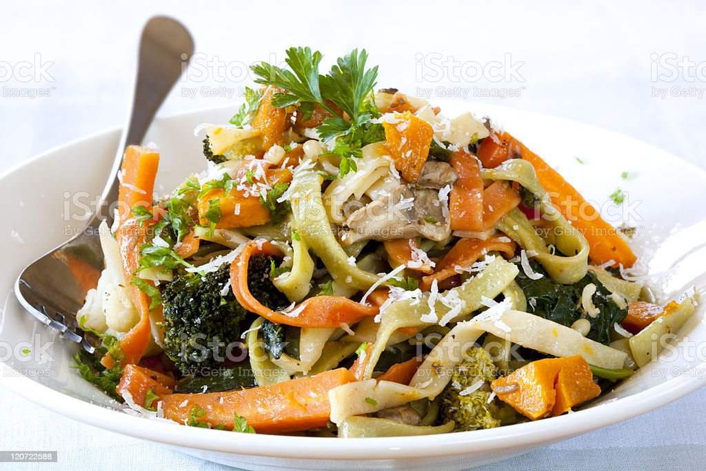 Fettucine Primavera royalty-free stock photo