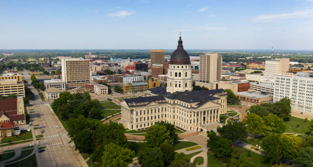 Few are around on Sunday at the Kansas state capital building in Topeka KS stock photo