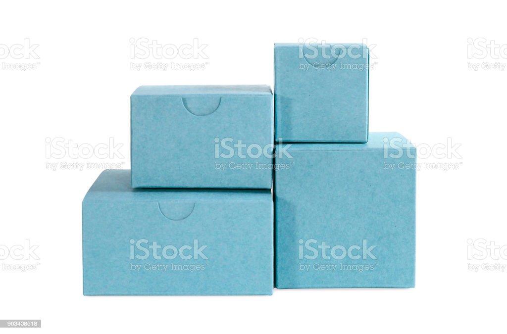 Few carton blue boxes - Zbiór zdjęć royalty-free (Bez ludzi)