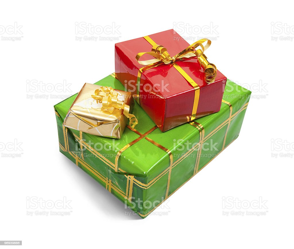 Few colored present boxes on white royalty-free stock photo