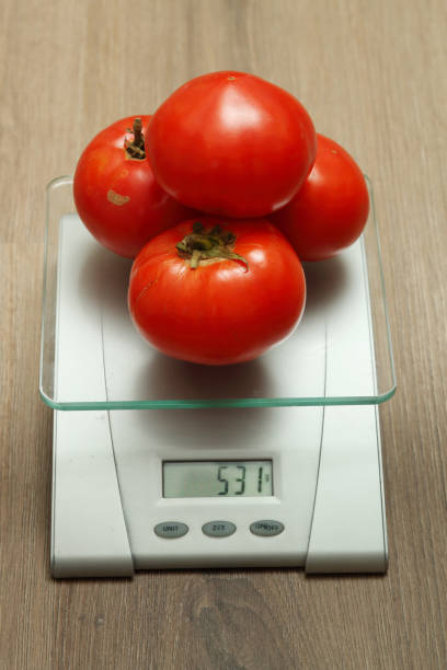 Cтоковое фото Few fresh tomatoes on the scales.