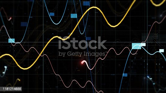 859246828istockphoto Few graphs and random digits among grids in space. 1181214655