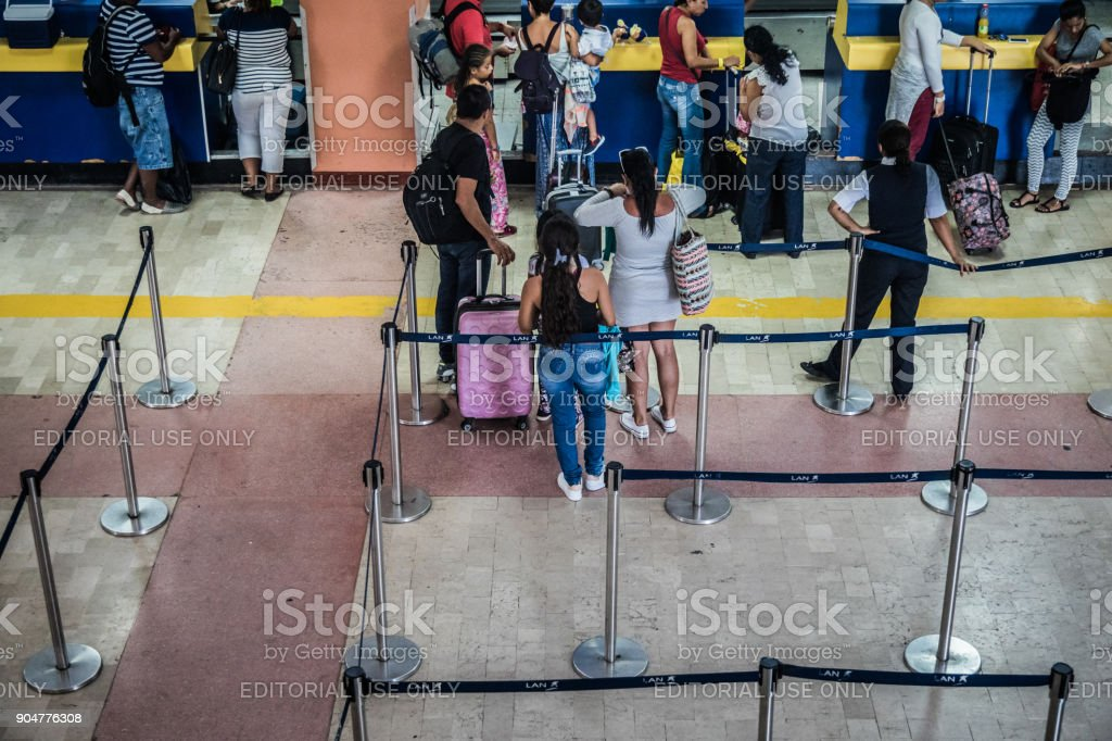 Few people in Line-up at the San Andres Airport. stock photo