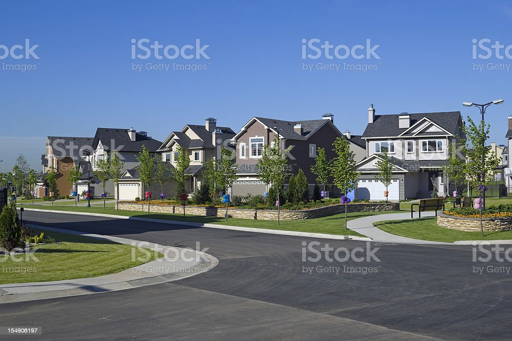 Few suburban houses. stock photo