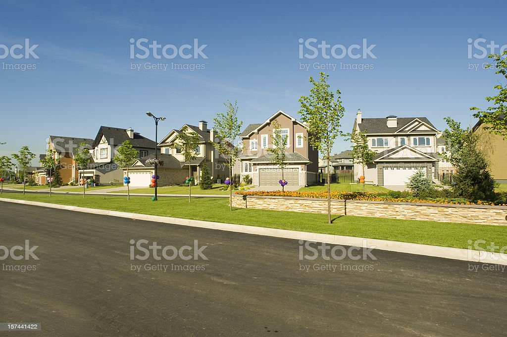Few suburban houses. stock photo