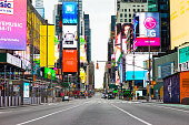 Manhattan, New York, USA - 3/28/2020, 2020:  Times Square after self-quarantine and social distancing was put in place in New York City to slow the spread of the covid-19 pandemic.