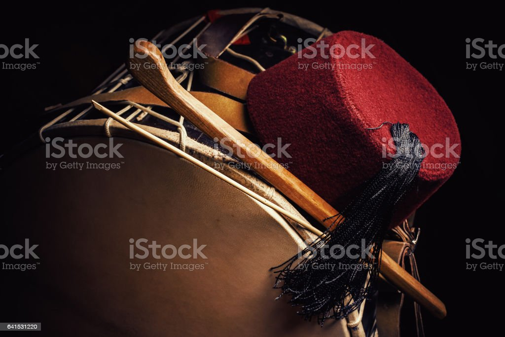 Fez Cap and Tapan Drum stock photo