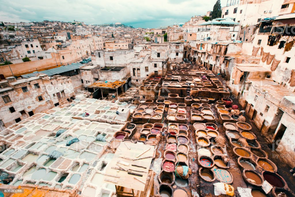 Fez Cityscape Fes Leather Tannery Morocco Africa stock photo