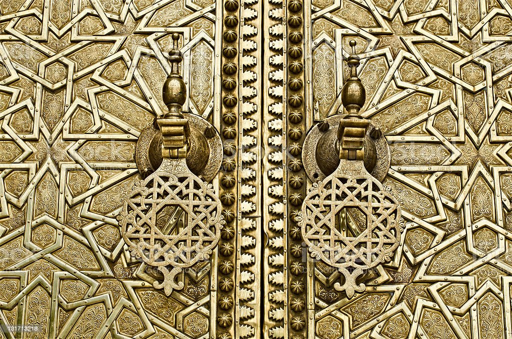 Fez, Morocco, detail of the Royal Palace's door royalty-free stock photo