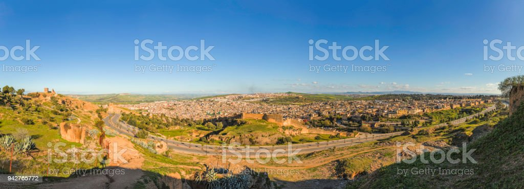panoramic view of Medina in Fez, Morocco