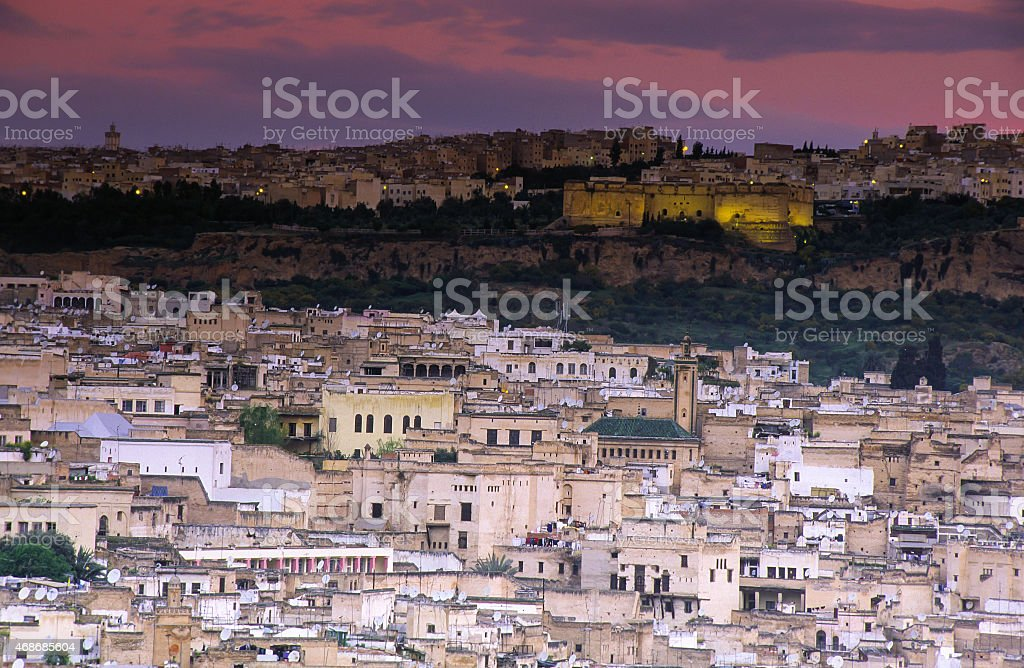 Fez, Morocco with old medina stock photo