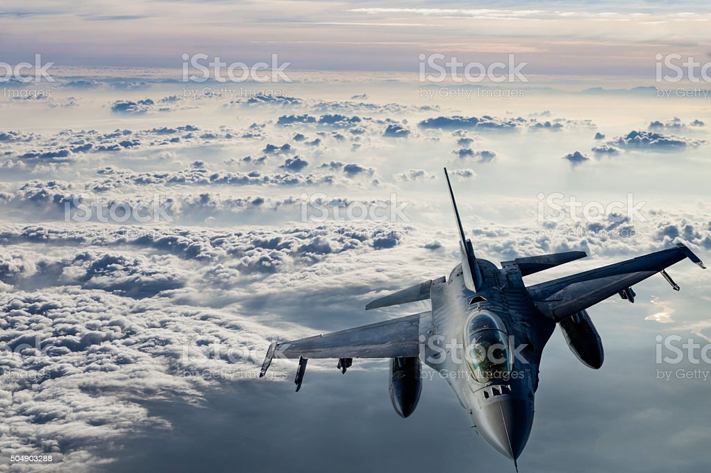 Fıghter Jet in flight stock photo