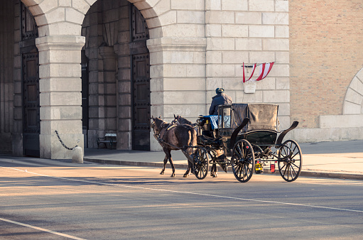 Vienna, Austria - December 29, 2012: Traditional Transportation in Vienna. Fiacre just before the passage of the Heldentors the Vienna Hofburg.