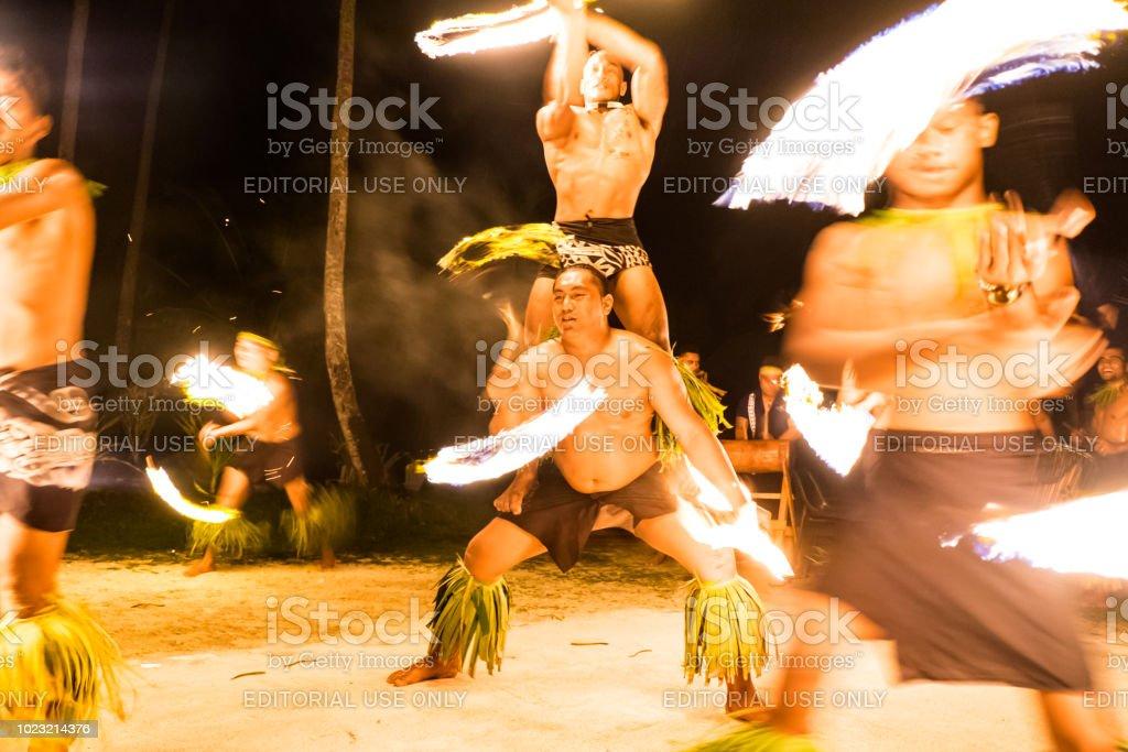 Fiafia show with fire dancers at Return to Paradise resort on Upolu Island stock photo