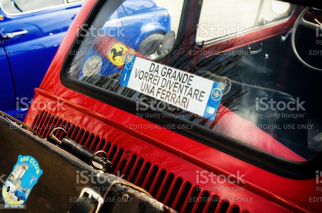 Fiat 500 classic car rally stock photo