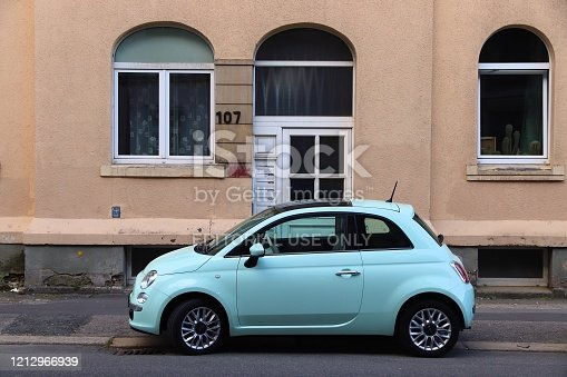 Fiat 500 small city hatchback car in Germany. There were 45.8 million cars registered in Germany (as of 2017).