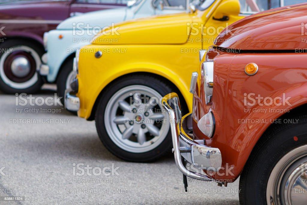 Fiat 500 oldtimer cars at the Reutlinger Oldtimertag event on August 20, 2017 in Reutlingen, Germany - foto stock