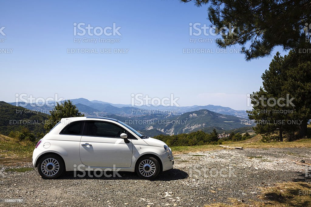 Fiat 500 on Mountain Summit in Italy stock photo