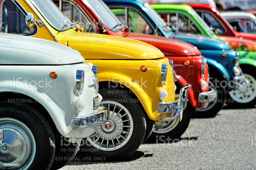 Fiat 500 on static rally Oktoberfest in Victory Square in stock photo