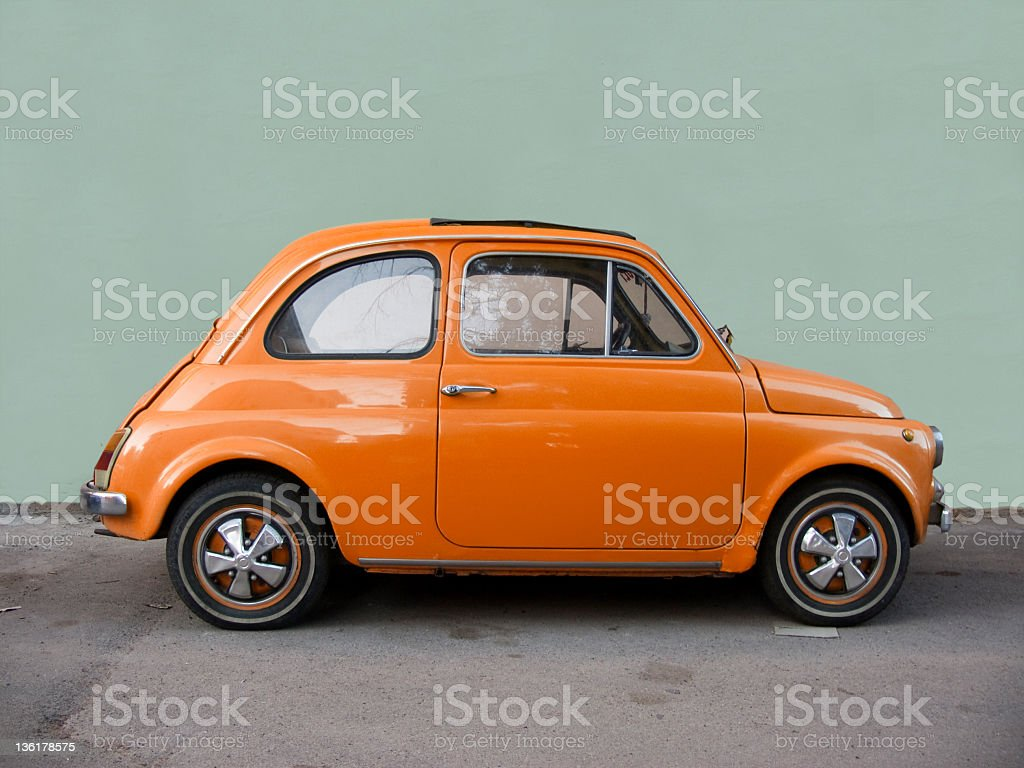 Fiat 500 orange. stock photo