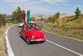 Fiat 500  with Italian flag