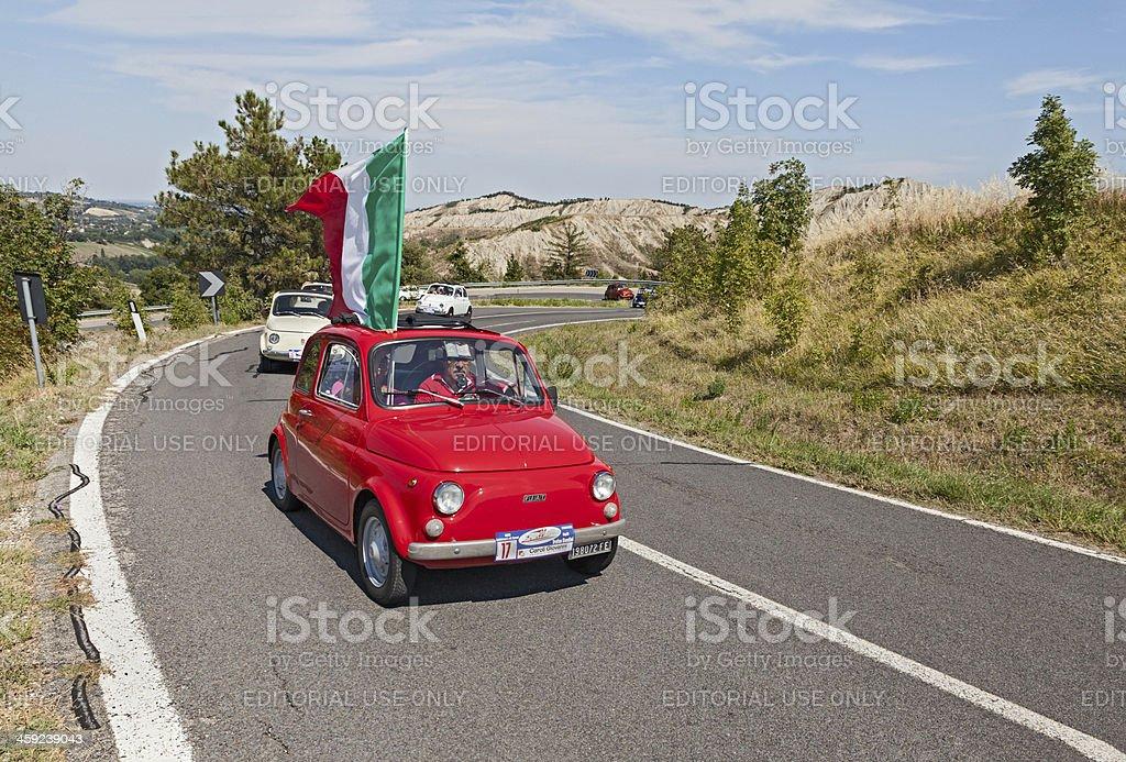 Fiat 500  with Italian flag stock photo