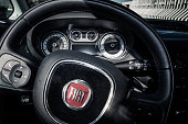 Fiat 500L steering wheel and dashboard