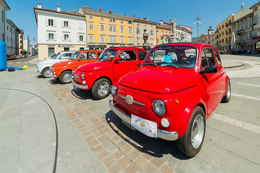 Gorizia, Italy - May 22, 2016: Photo of a Fiat 500 Club Isonzo meeting. The Fiat 500 (Italian:Cinquecento) is a city car which was produced by the Italian manufacturer Fiat between 1957 and 1975.