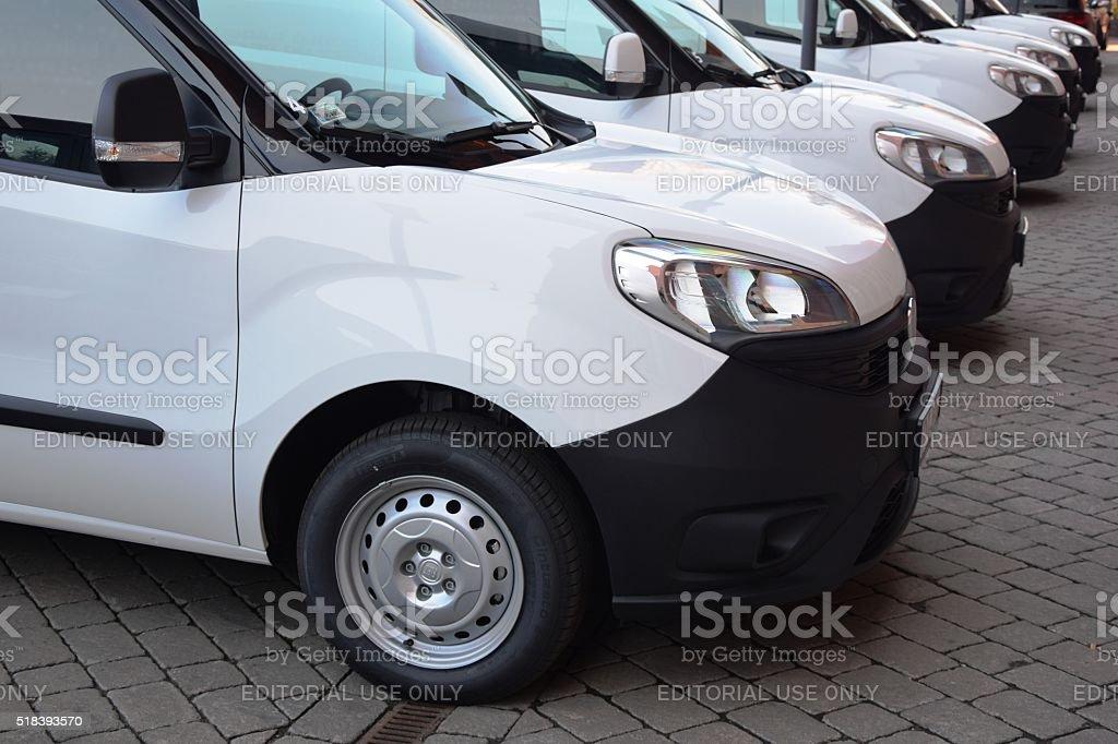 Fiat Doblo in a row stock photo