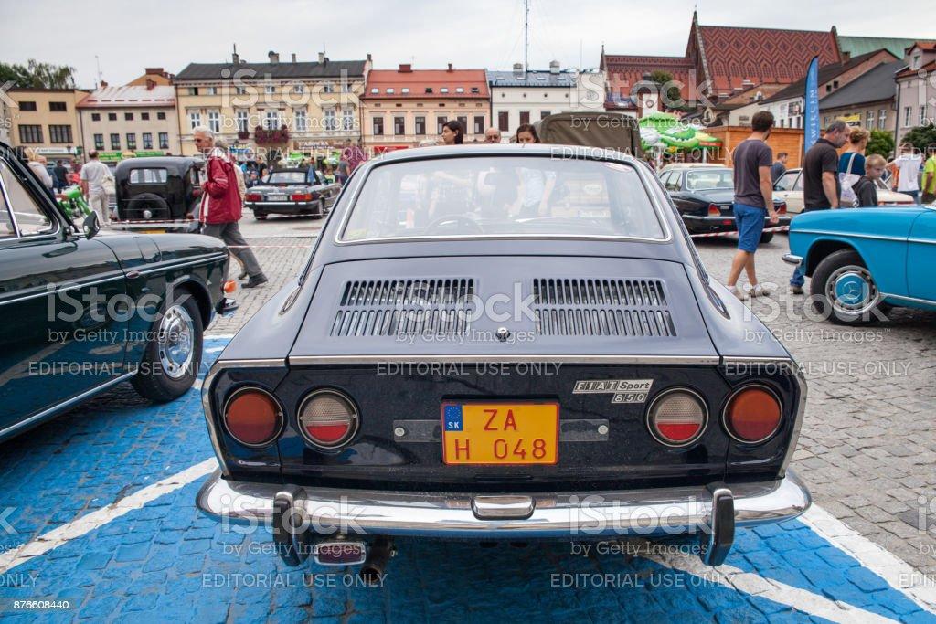 Fiat Sport 750, rear view, retro design car. Exhibition of vintage...