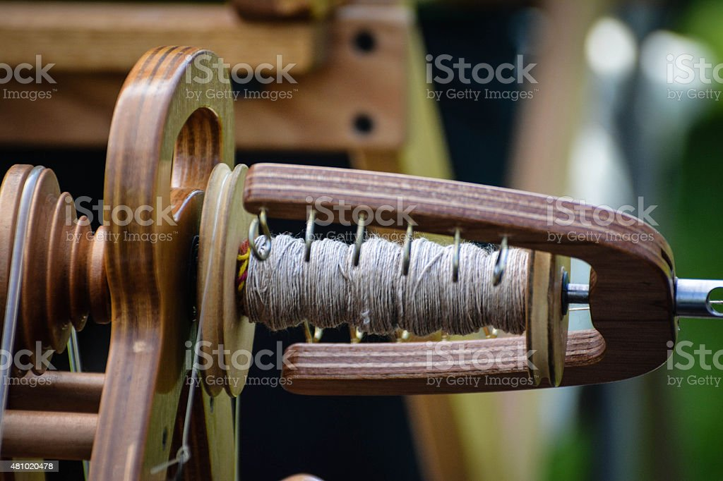 Fiber Arts Spinning Wheel stock photo