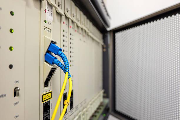 Fiber optic cable of PABX system. - foto de acervo