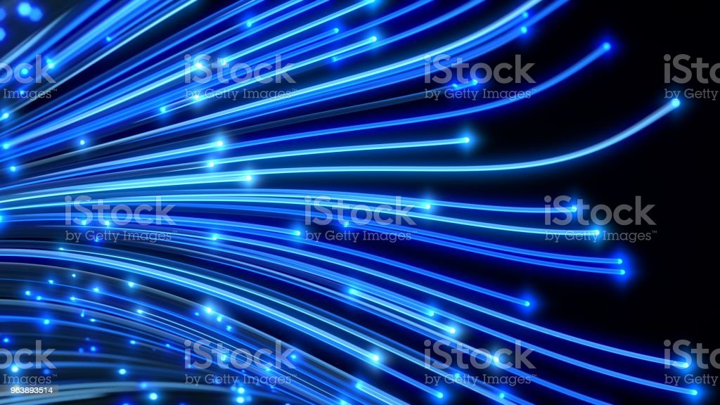 fiber optic cables. 3d illustration - Royalty-free Abstract Stock Photo