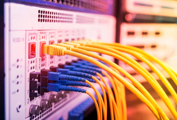 Fiber Optic cables and UTP Network cables Fiber Optic cables and UTP Network cables telephone line stock pictures, royalty-free photos & images