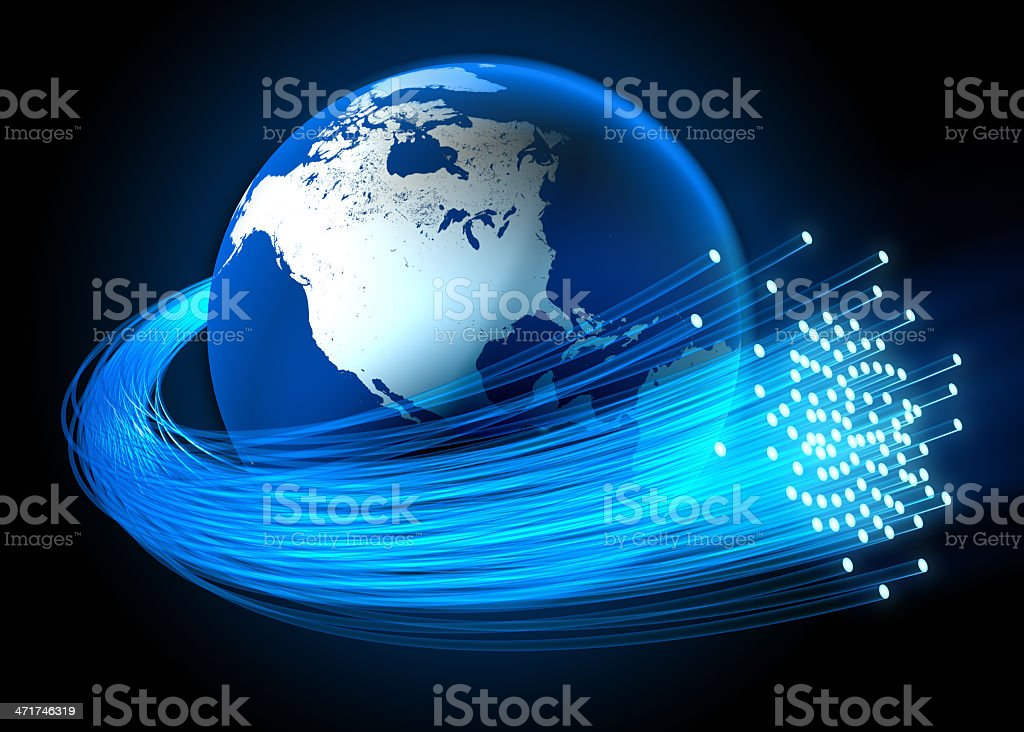 Fiber optic cables around Earth focus on the US royalty-free stock photo