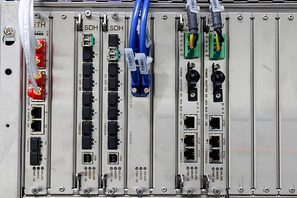 Fiber optic communication device, LAN, SDH stock photo