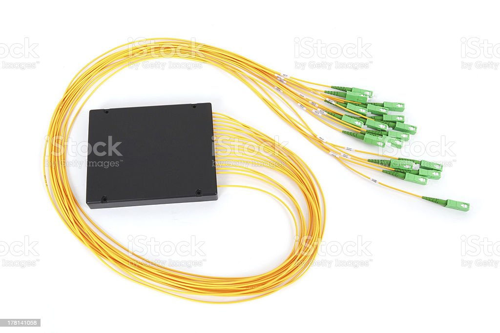 fiber optic coupler with SC connectors stock photo
