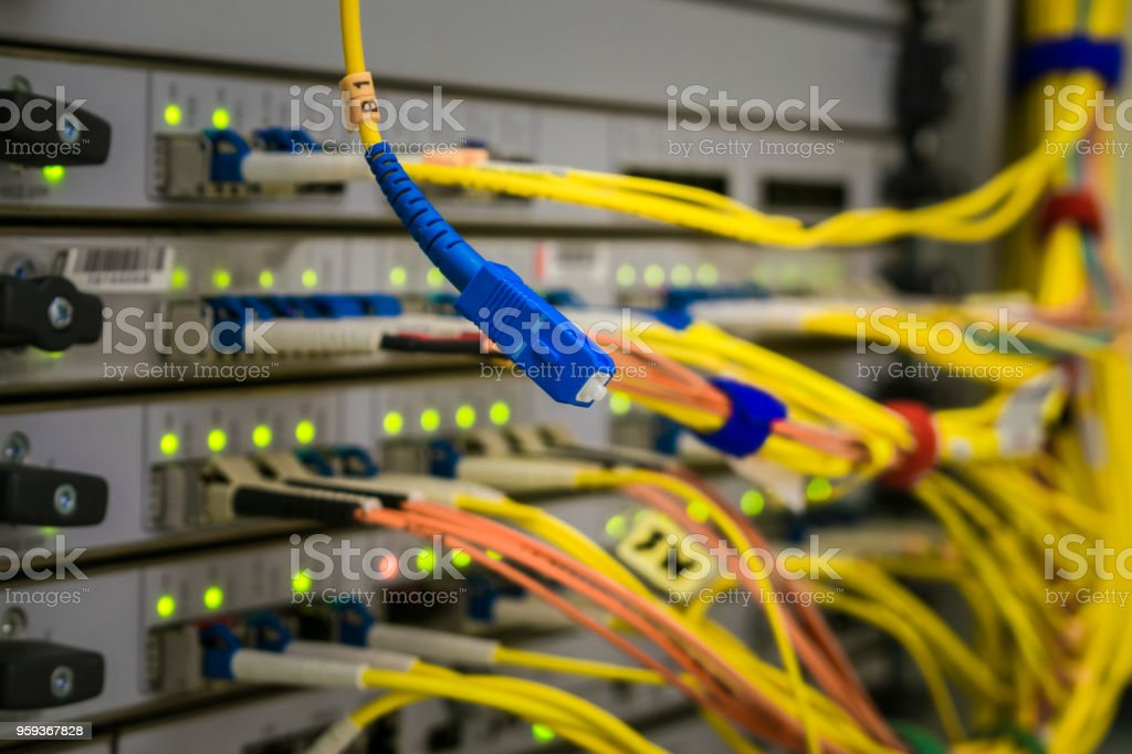 Fiber Optic Patchcord Is On The Background Of The Central