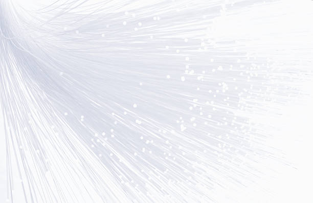 Fiber optic strands on a white background stock photo
