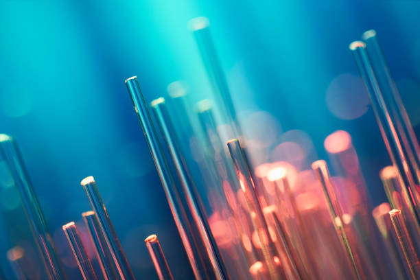 Fiberoptik abstrakter Hintergrund - Blue Data Internet Technology Cable – Foto