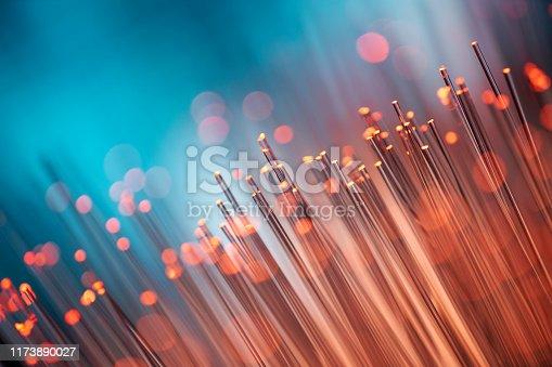 Close up of fiber optic cables.