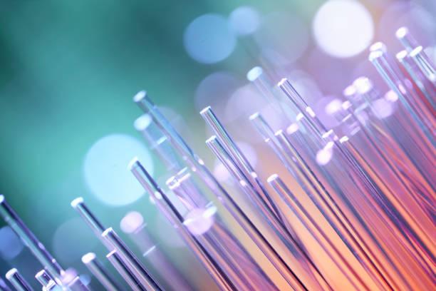 Fiber optics abstract background - Blue Data Internet Technology Cable stock photo