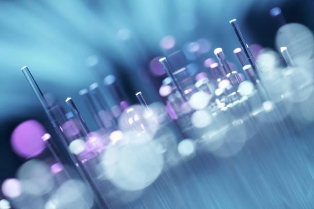 Fiberoptik abstrakten Hintergrund - Purple Blue Data Internet Technology Kabel – Foto