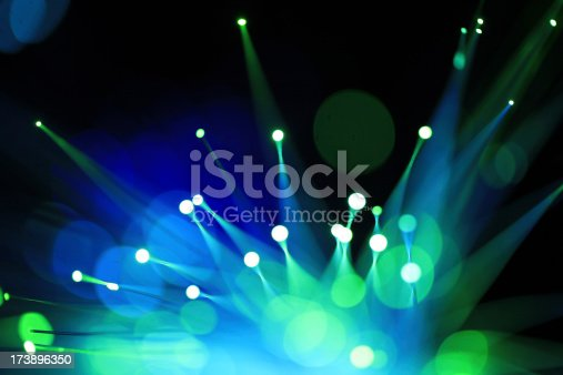 abstract closeup with selective focus on fiber optics wires..more technology Images Here..