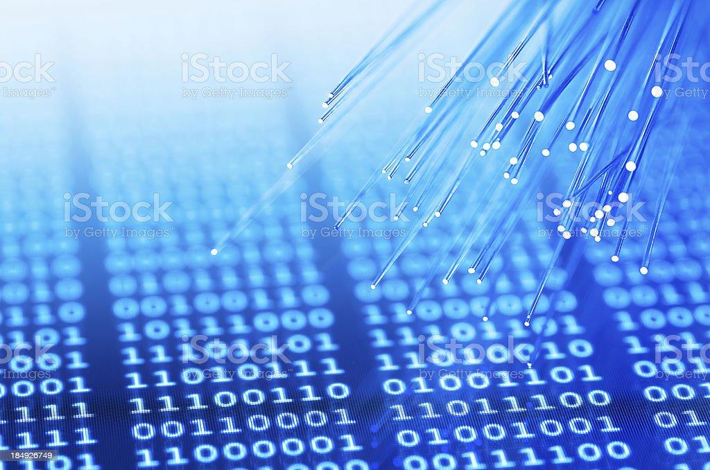Fiber optics on binary background royalty-free stock photo