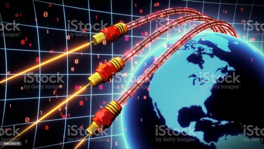 Fiber Optics World Red stock photo